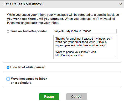 The dialog box in Inbox Pause